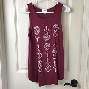 Old Navy Maroon Graphic Tank